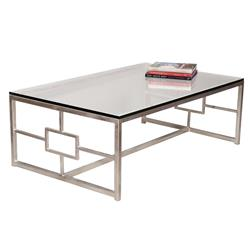 Interlude Vetra Contemporary Antique Silver Leaf Glass Rectangle Cocktail Table