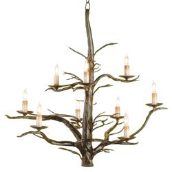 Sculpted Wrought Iron Branches 9 Light Chandelier