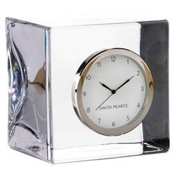 Simon Pearce Modern Classic Woodbury Square Glass Table Clock