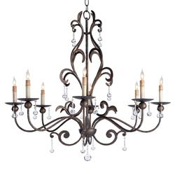 Pollenca Modern Classic Crystal Ball Bronze 8 Light Chandelier
