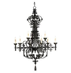 Malaga Spanish Revival Industrial Black 9 Light Chandelier