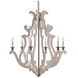 Vilanova Modern French Concrete Wrought Iron 6 Light Chandelier