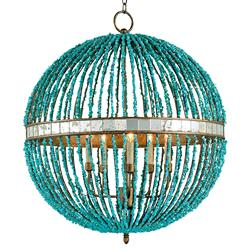 Lorenz Contemporary Turquoise Beaded 5 Light Orb Chandelier