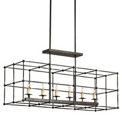 Cam Industrial Loft Iron Ball Joint Rectangular Cage Chandelier