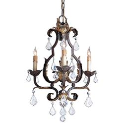 Tuscan Elegant Swarovski Crystal 3 Light Chandelier
