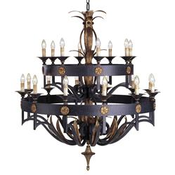 Ridley Masculine Steel Gothic Two-Tier 20 Light Chandelier
