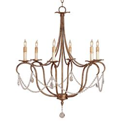 Crystal Transitional Curved Arm 6 Light Chandelier