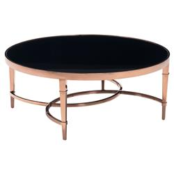 Leola Modern French Rose Gold Black Tempered Glass Coffee Table