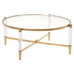 Cecilia Hollywood Regency Gold Round Glass Stainless Steel Coffee Table
