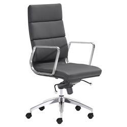 Josh Modern Black Leather Silver Chromed Steel Swivel Office Chair