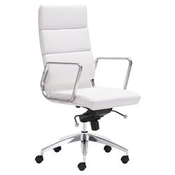 Josh Modern White Leather Silver Chromed Steel Swivel Office Chair