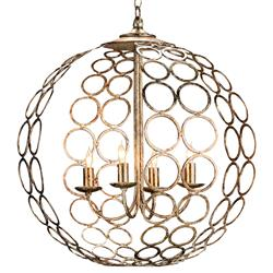 Hammered Metal Circle 4 Light Round Ball Chandelier