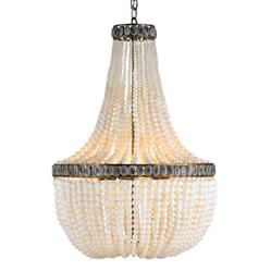 Cream Beaded Coastal Beach 3 Light Chandelier