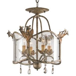 Flush Mount Glass Panels Small 4 Light Chandelier