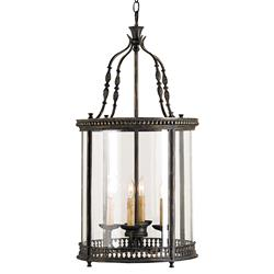 Gardner Vintage Glass Panels French Black 4 Light Lantern Pendant