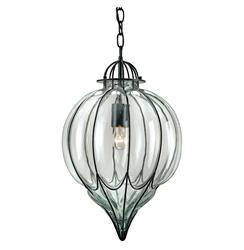 Omar Satin Black Blown Glass 1 Light Pendant