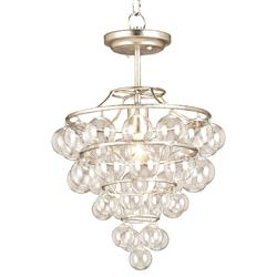 Valmere Silver Leaf Blown Glass Ball 1 Light Pendant
