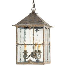 Pagoda Bird Cage Seeded Glass 3 Light Lantern Lamp