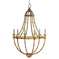Palm Beach Bamboo Washed Wood 6 Light Lantern Pendant Lamp