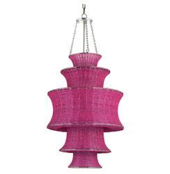 Fuchsia Magenta Tiered Beaded Glass Modern Pendant