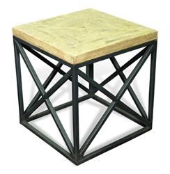 Longmire Modern Rustic Solid Wood Parquet Side End Table