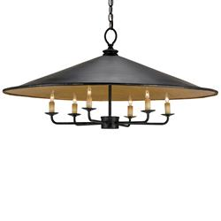 Bruges Large Cone Shaped Industrial Iron 6 Light Pendant Light
