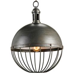 Viktor Industrial Chic Round Orb 1 Light Pendant