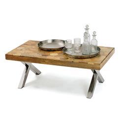 Industrial Vintage Patchwork Parquet Wood Top Coffee Table