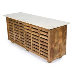 Modern Rustic White Carrara Marble Large Wood Kitchen Sideboard