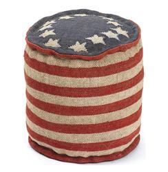 Betsy Ross Recycled Kilim American Flag Round Pouf Ottoman