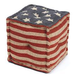 Star Spangled American Flag Kilim Cube Ottoman