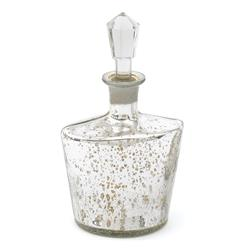 Carin Antique Etched Silver Mercury Glass Decanter