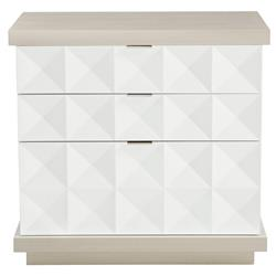 Lucille Modern Classic White Grey Wood Fancy Face Nightstand
