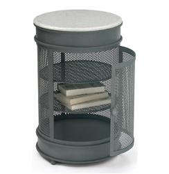 Nantucket Vintage Steel Mesh Marble Round Storage End Table