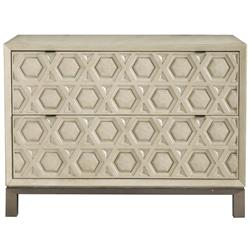 Sarabeth Modern French Geometric Antique White Wood Stainless Steel Bachelor Chest