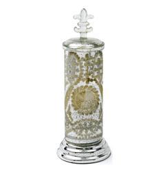 Cisco Mercury Glass Antique Etched Champagne Silver Jar