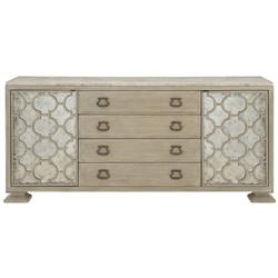 Sarabeth Modern French Antique White Travertine Patterned Cast Grille Antique Glass Brown Wood Buffet Sideboard