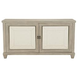 Sarabeth Modern French Beige Upholstered Brown Wood Buffet Sideboard