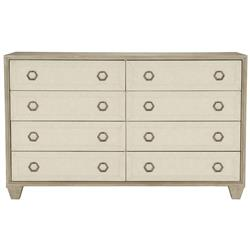 Sarabeth Modern French Beige Upholstered Brown Wood Dresser