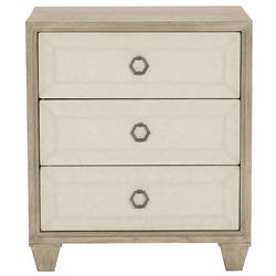 Sarabeth Modern French Beige Upholstered Brown Wood Nightstand