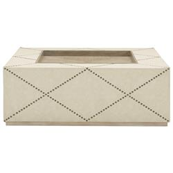 Sarabeth Modern French Beige Upholstered Diamond Pattern Nailhead Trim Square Coffee Table