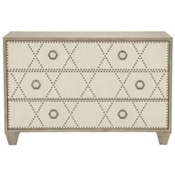 Sarabeth Modern French Beige Upholstered Diamond Pattern Nailhead Trim Wood Dresser