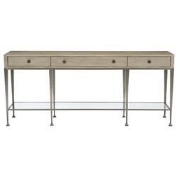 Sarabeth Modern French Brown Wood Stainless Steel Glass Console Table
