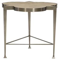 Sarabeth Modern French Brown Wood Stainless Steel Side End Table
