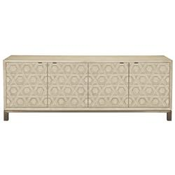 Sarabeth Modern French Geometric Patterned Cameo Brown Stainless Steel Media Cabinet