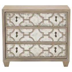 Sarabeth Modern French Patterned Cast Grille Overlay Antiqued Mirror Wood Nightstand