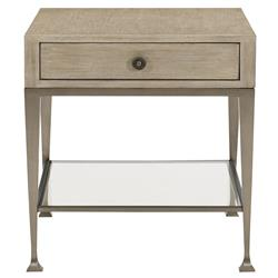 Sarabeth Modern French Wood Top Stainless Steel Glass Shelf Side End Table