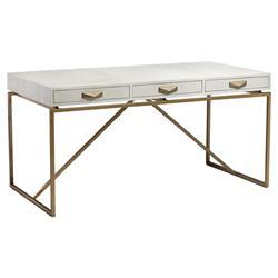 Interlude Atherton Modern White Faux Shagreen Antique Brass Wood Desk