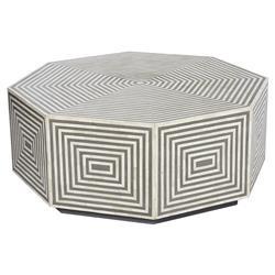 Interlude Austen Global Bazaar Grey White Bone Resin Octagonal Round Coffee Table