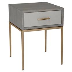 Interlude Corinna Modern Grey Wash Oak Wood Antique Brass Nightstand